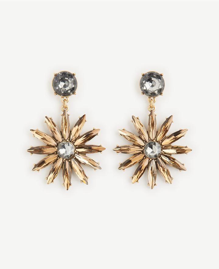 Ann Taylor Crystal Sequin Floral Drop Earrings