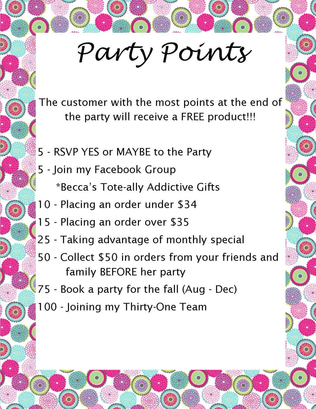 Thirty One Party Points   31 Parties   Pinterest   31 party