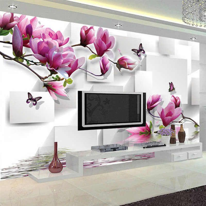 Fashionable Interior Design Photo Wallpaper 3d Stereo Square Orchid Reflection Aesthetic Mural Living Room Tv Backdrop Wallpaper Photo Wallpaper 3d Backdrop Wal Drawing Room Decor Mural Wallpaper Mural