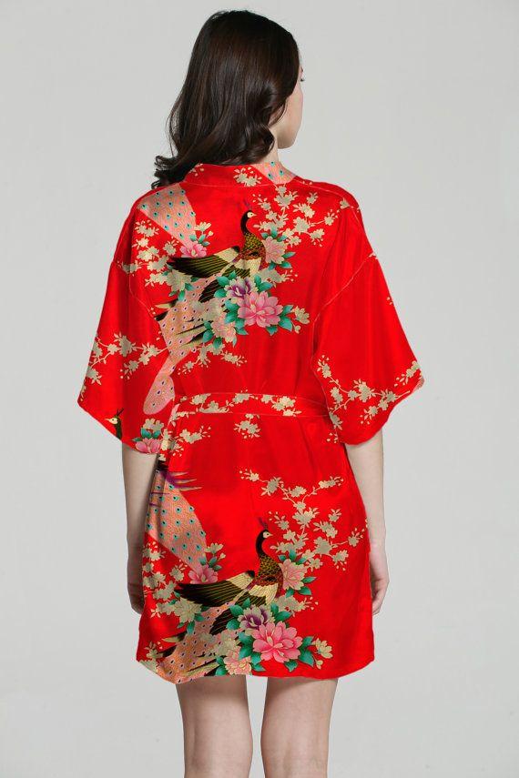 81c629fc43 Silk Kimono Robe Satin Japanese Kimono Bathrobe Women Dress Gown Bridal  Party Gift Robe Baby Shower Gift Bathrobes Women Luxury Spa Robes There  were 12