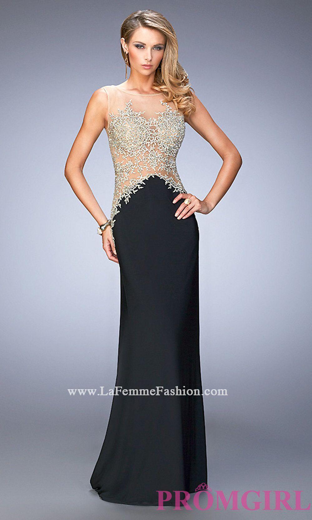 Long la femme prom dress with beaded illusion bodice style lf