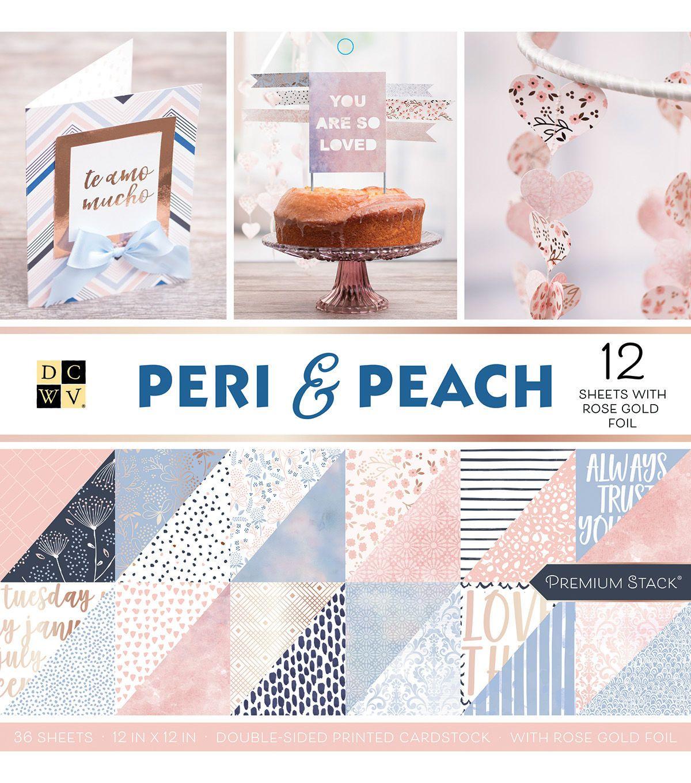 American Crafts Card Stock 12X12 Peri and Peach Premium Printed Cardstock Stack