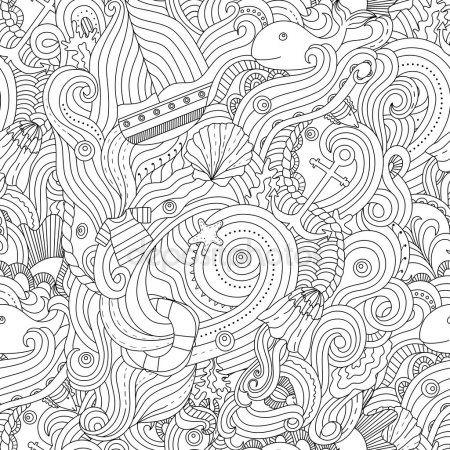 Patrón de náutico. Página para colorear de adultos — Vector de stock ...
