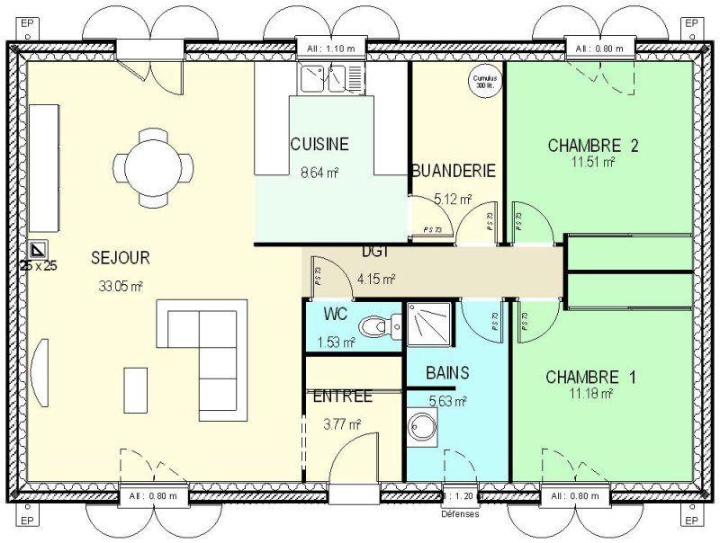 Pin by Barnabe on Construction bk Pinterest Construction - plan de maison en l de plain pied gratuit