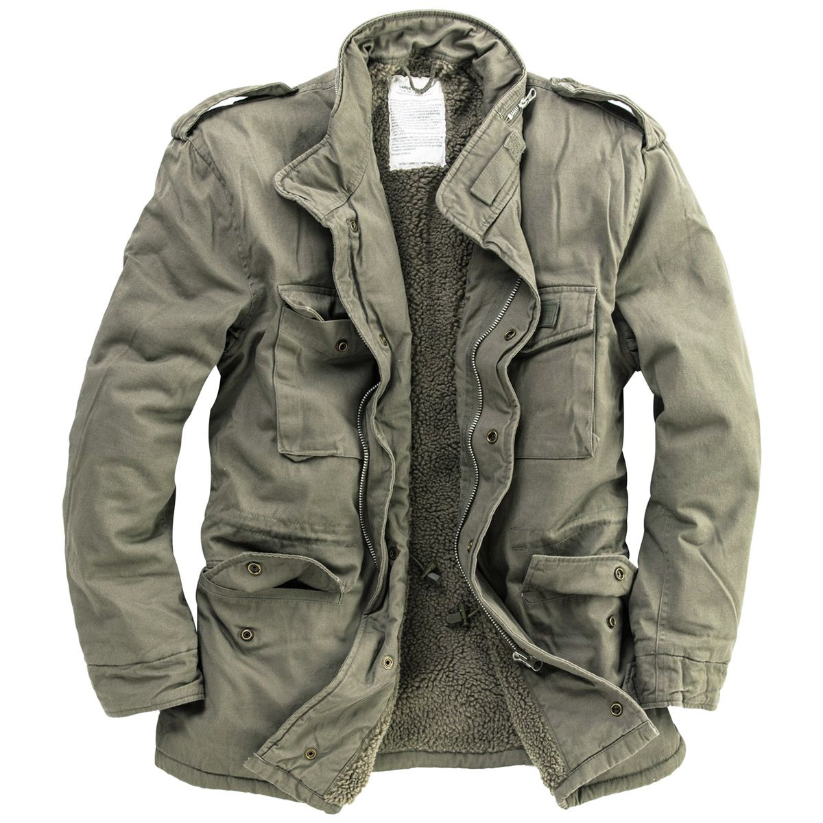 f1c42e73a52 Surplus-Paratrooper-Winter-Mens-Jacket-M65-Army-Military-Field-Coat-Olive- Washed