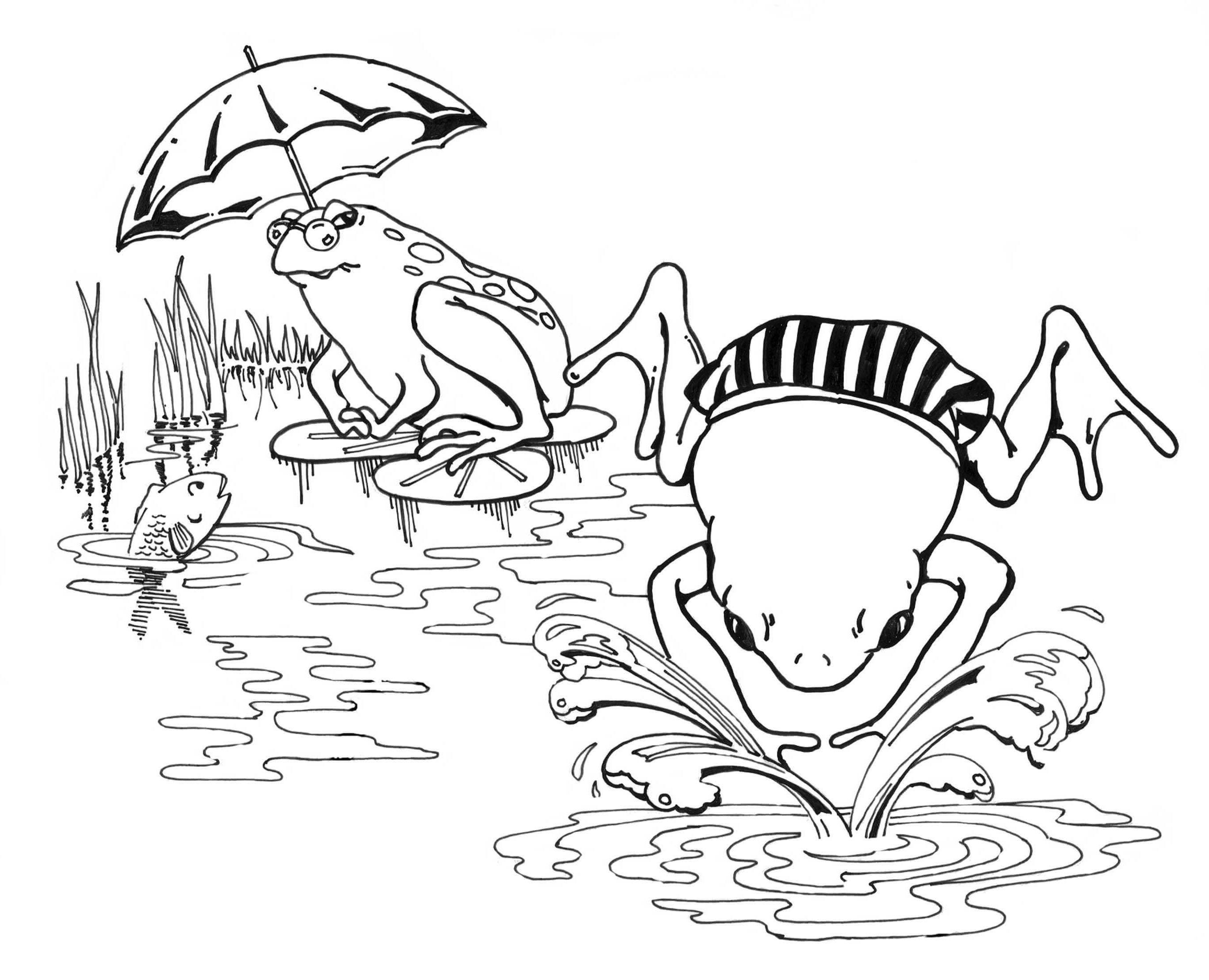 Cartoon Frogs Swimming