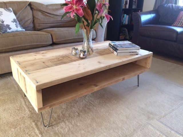 reclaimed scaffold board coffee table with aged steel hairpin legs rh pinterest com