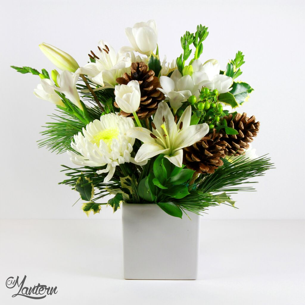 Winter White Flower Arrangement White Spiderwhite Mumswhite