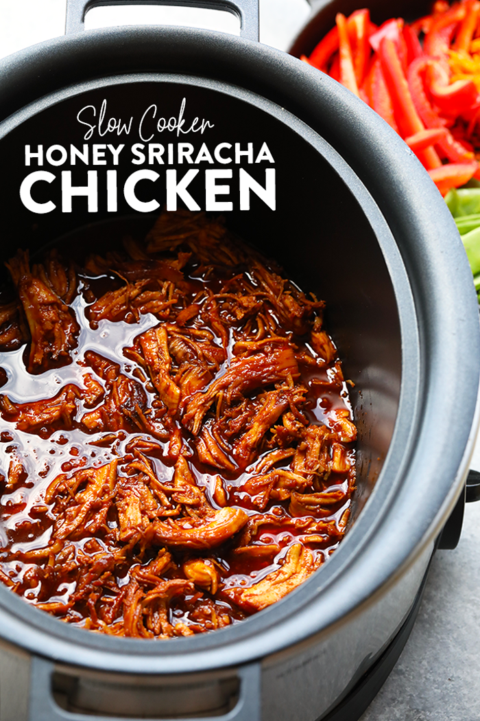 All you need are five ingredients to make this delicious, clean-eating, slow cooker honey sriracha chicken that's made with REAL food. If you love 5 ingredient crock pot recipes, then this sriracha chicken recipe is for you. It is great for easy meal-prep dinners throughout the week! #cleaneating