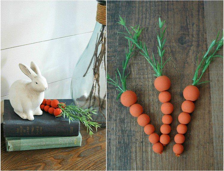Kleine Karotten für innen und draußen mit Holzperlen basteln
