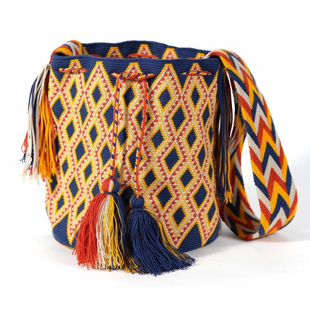 hight resolution of blue orange yellow mochila made in colombia by the wayuu in ebay