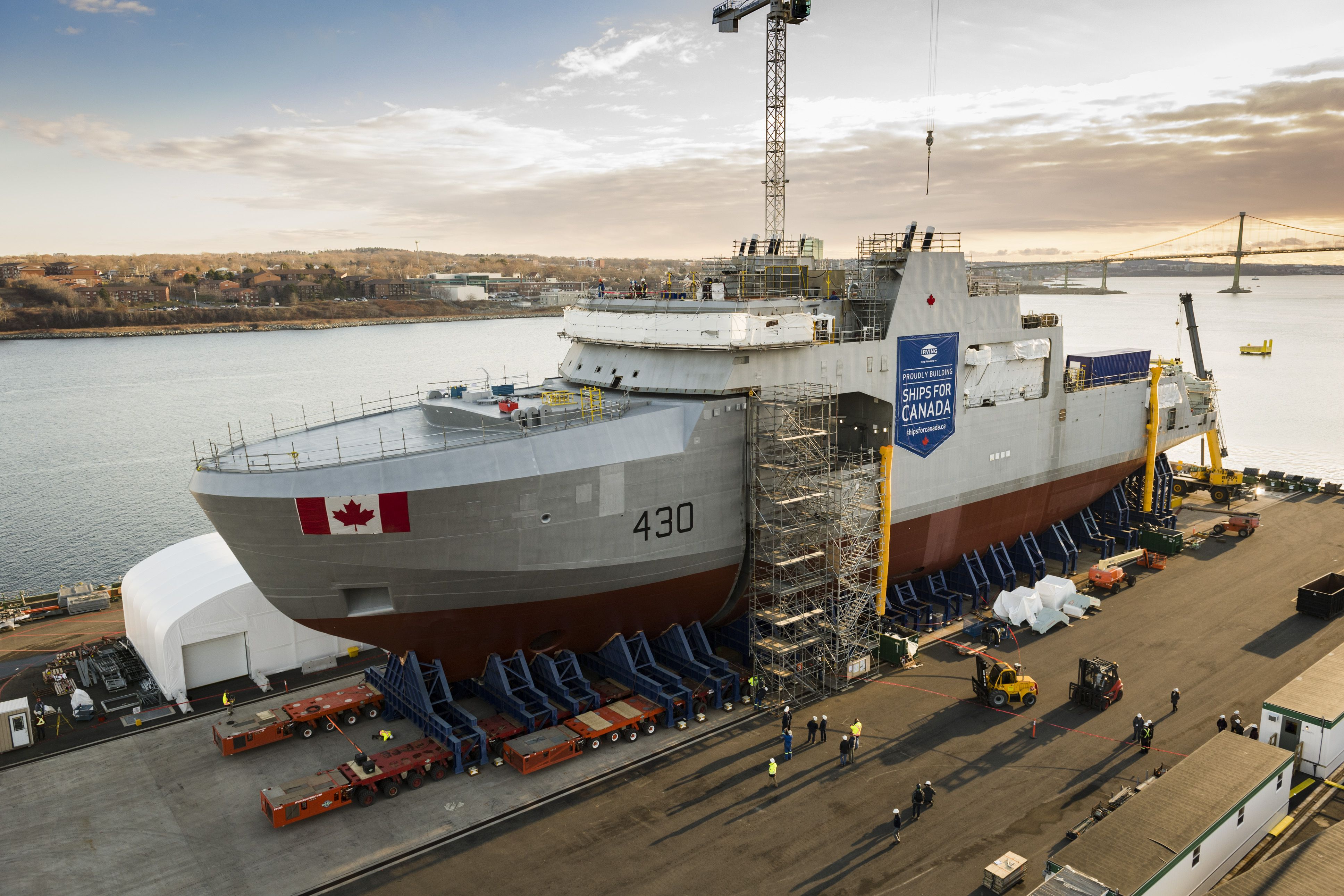 HMCS Harry DeWolf being fitted together ahead of planned