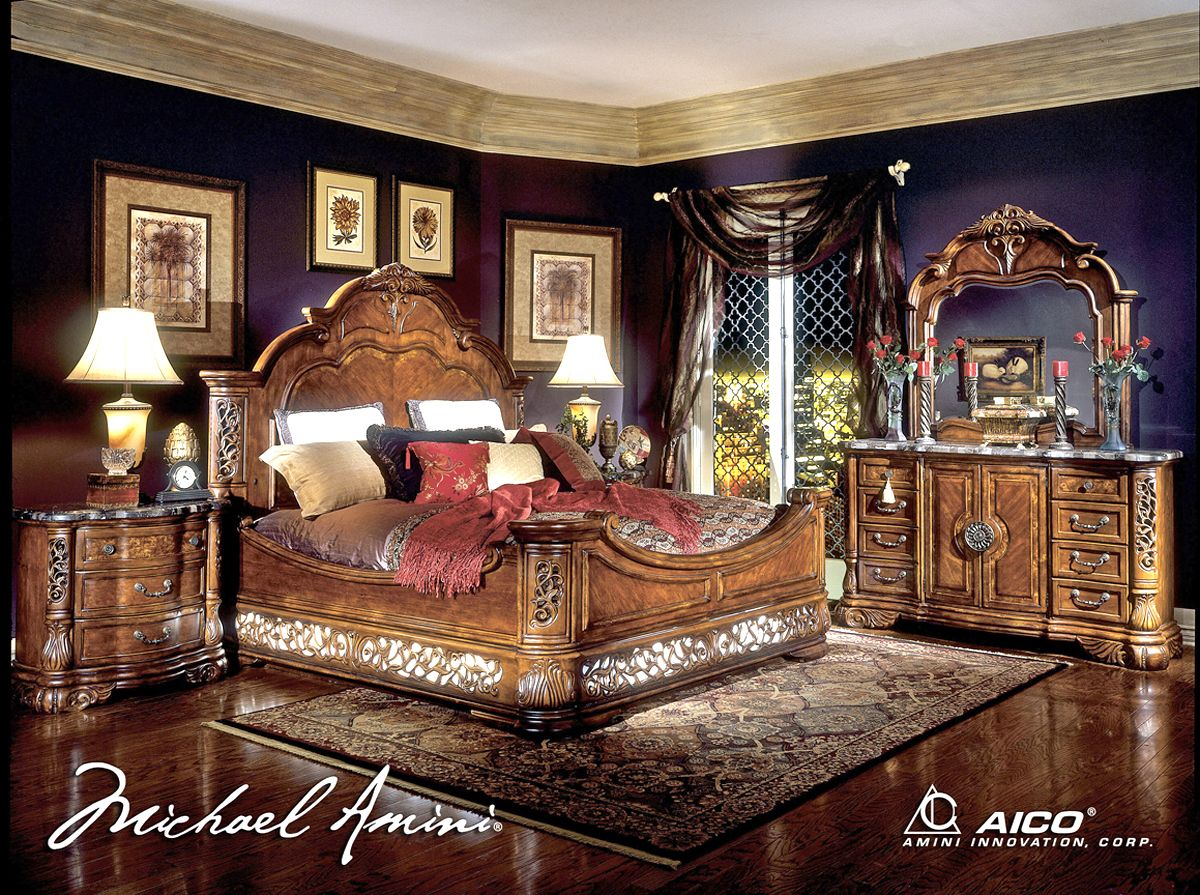 Michael Amini Excelsior Bedroom Furniture Fruitwood Finish by AICO ...