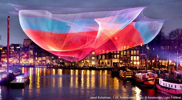 Janet Echelman: 1.26 Sculpture Project at the Amsterdam Light Festival, December 7, 2012- January 20, 2013