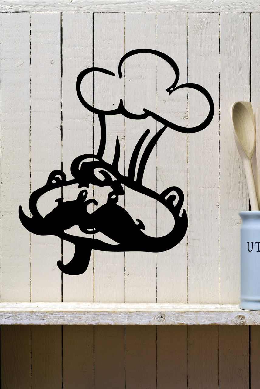 Chef face u hat kitchen vinyl wall decal kitchen wall decals wall