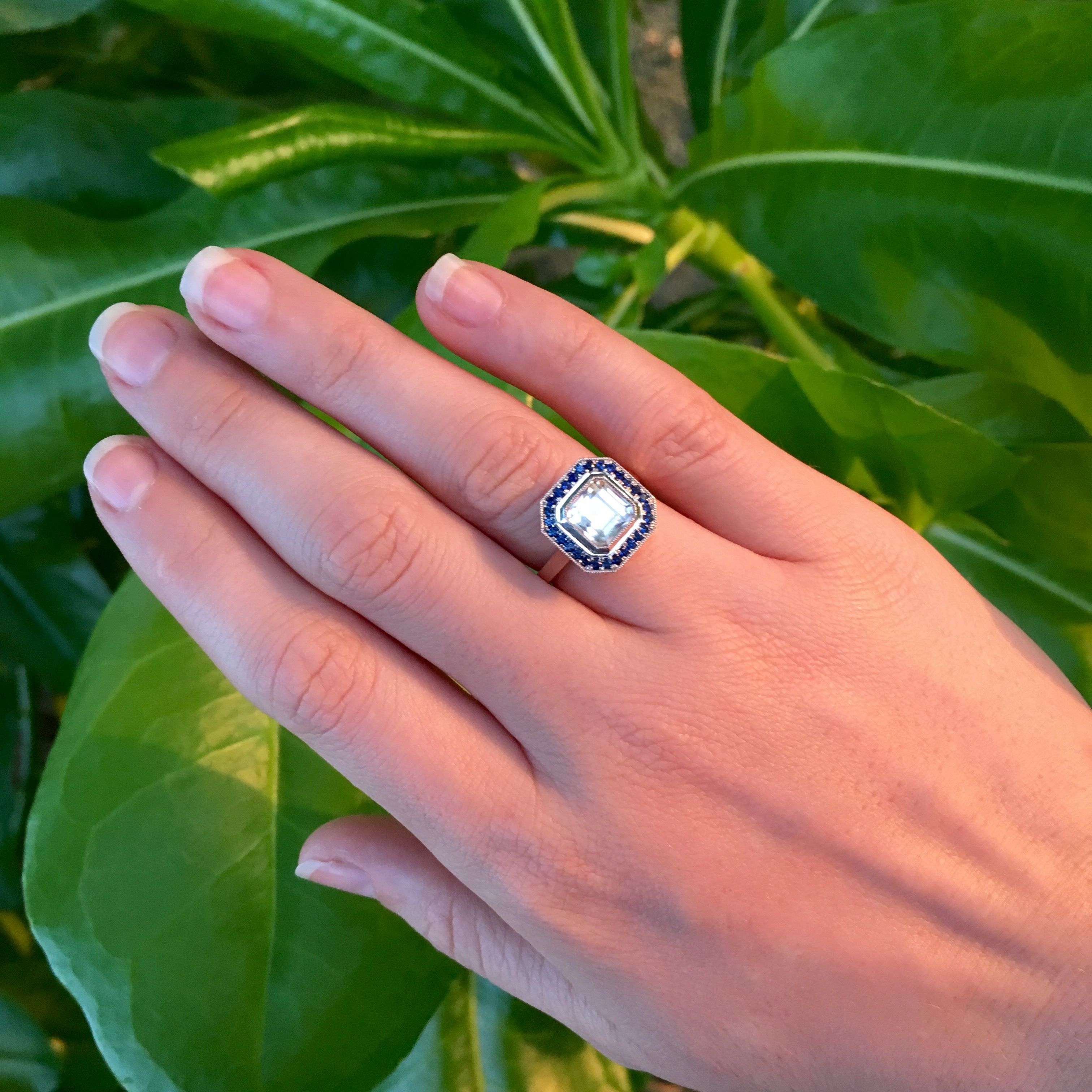 CW Bespoke- White Topaz with Halo of Blue Sapphires | ENGAGEMENT ...