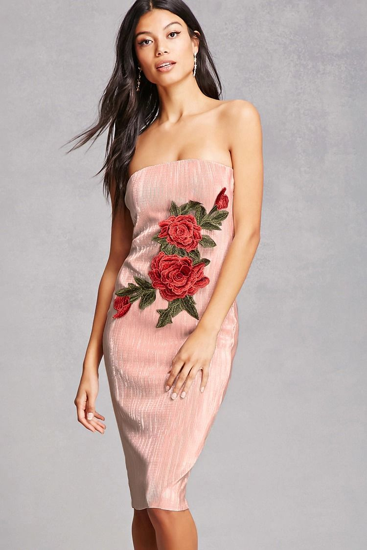 80f2470b985d9 A shiny ribbed tube dress featuring a sleeveless cut, front floral bouquet  appliques, an elasticized neckline, back keyhole cutout detail, and a  bodycon ...