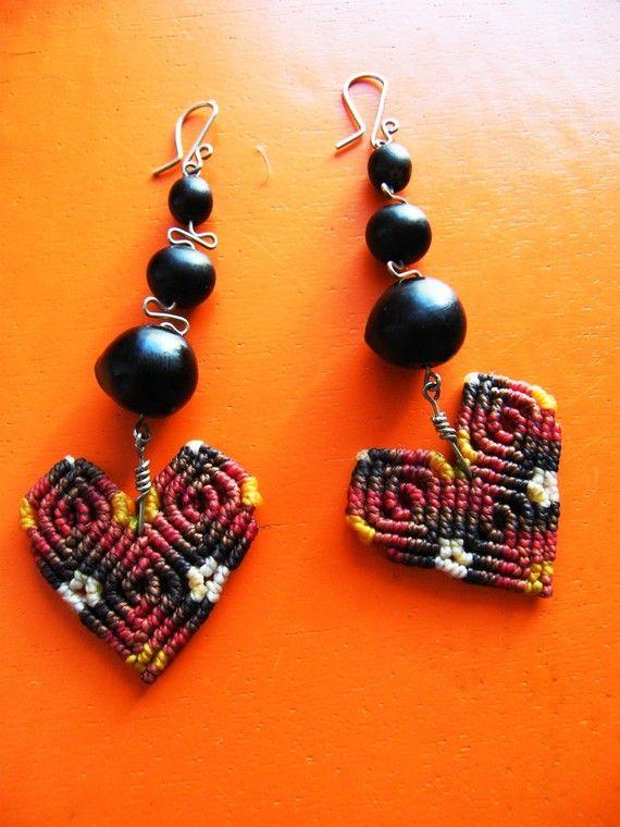 Fiber dangle earrings HEARTS micro macrame earrings by ARUMIdesign. Love them
