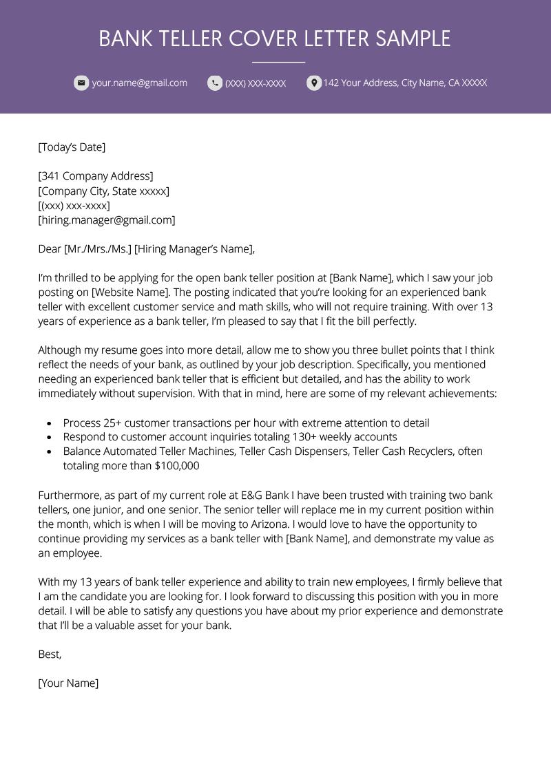 Bank Teller Cover Letter Example Resume Genius Cover Letter