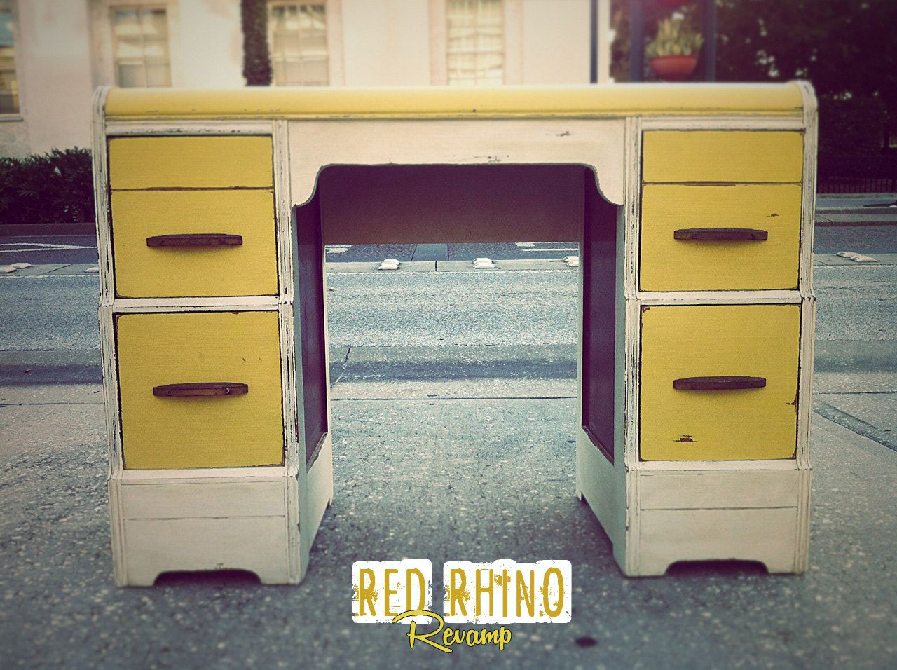 Yellow vintage desk mellow yellow vintage waterfall desk sold