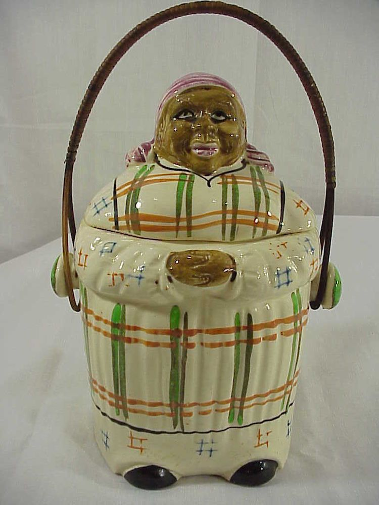 RARE Vintage Basket Handled Mammy Cookie Jar with Feet and Elongated Body