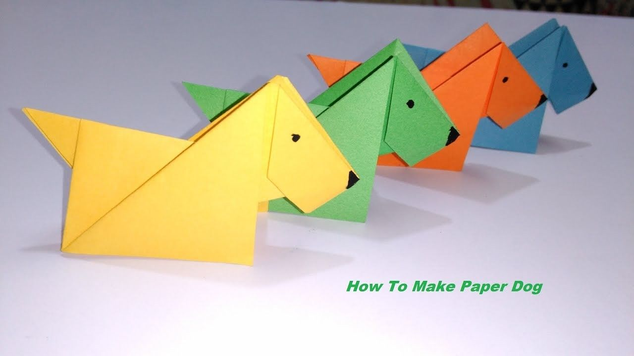 Paper Dog Origami Dog Paper Crafts For Kids Easy Paper Craft