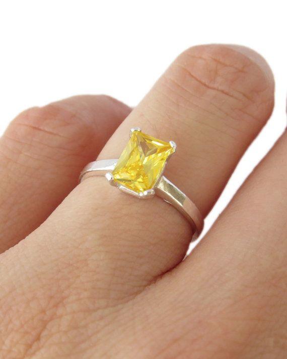 1 carat Canary Yellow Diamond Emerald Shape Radiant Cut Engagement