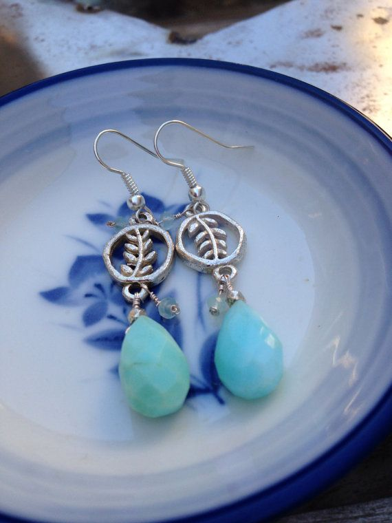 Raw Opal Tear Drop Earrings with Silver Plated Leaf Charms on Etsy, $22.00