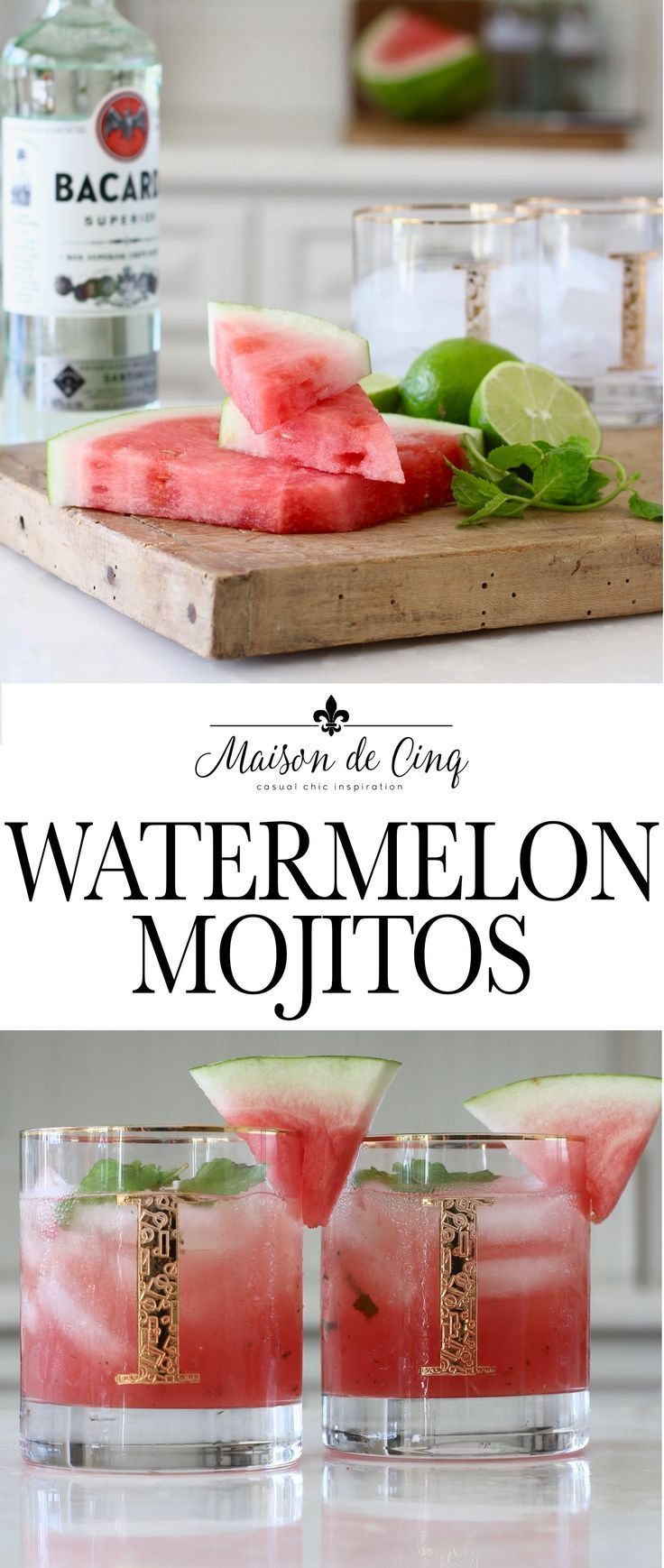 Watermelon Mojito Recipe - The Perfect Summer Cocktail! Delicious Watermelon Mojitos - perfect for summer! Absolutely the BEST mojitos ever!--->#maisondecinq