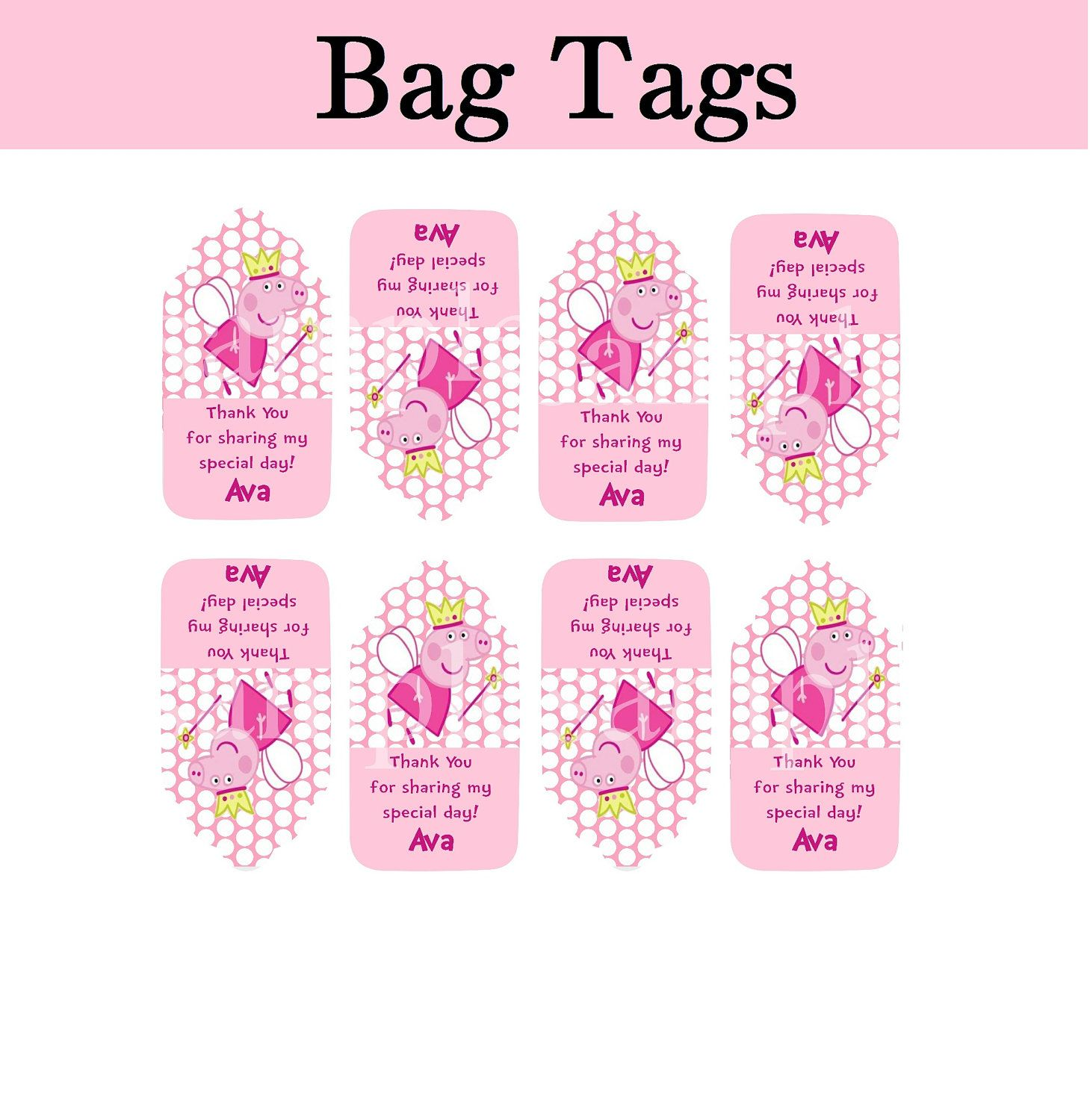 Peppa pig thank you tags goodie bag tags personalized for Goodie bag tag template