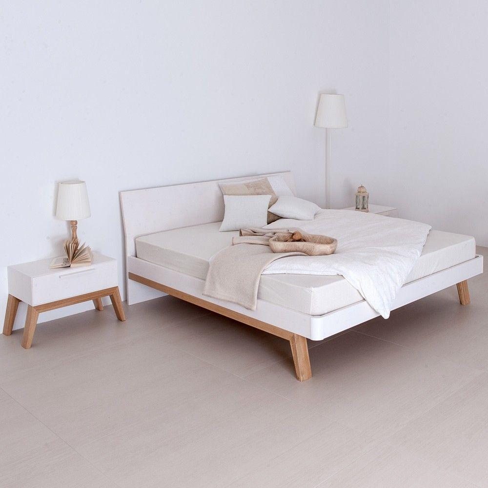 Letto matrimoniale cortina in legno massiccio naturale e laccato bianco letti pinterest - Letto bianco matrimoniale ...