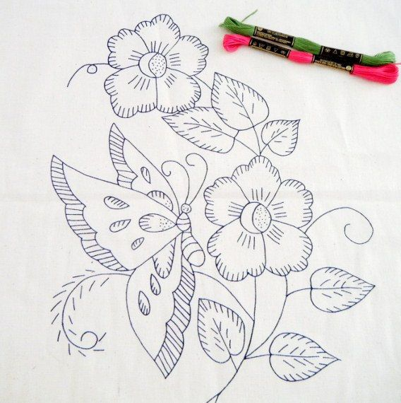 butterfly pattern, diy embroidery kit, embroidered napkin, printed fabric, needlework design - FREE SHIPPING