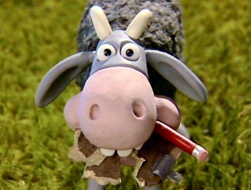 | Shaun the Sheep | mower mouth eating Bitzer´s blocknote ...