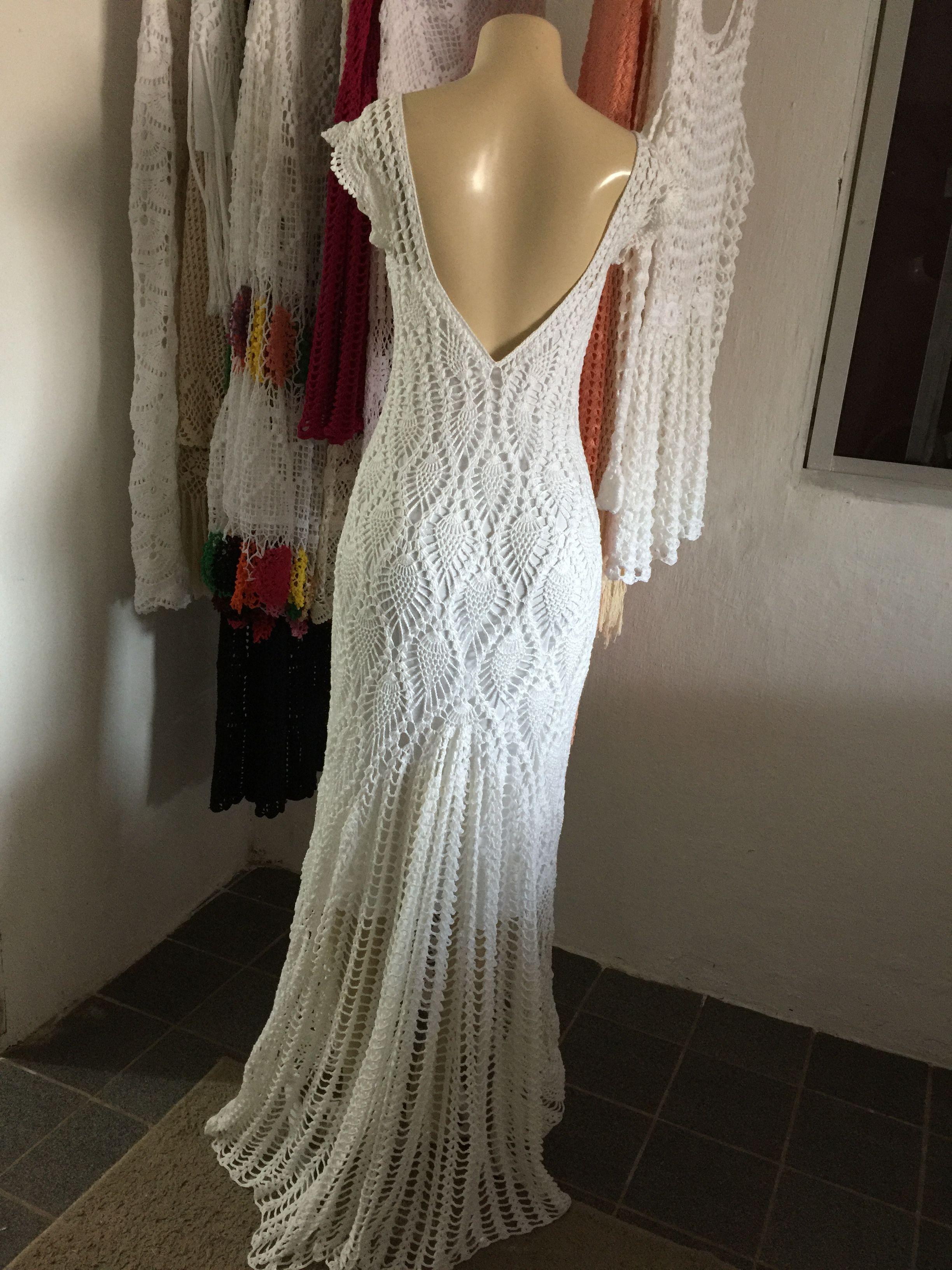 Crochet wedding dress pattern by Pacharee Yamwithaya on