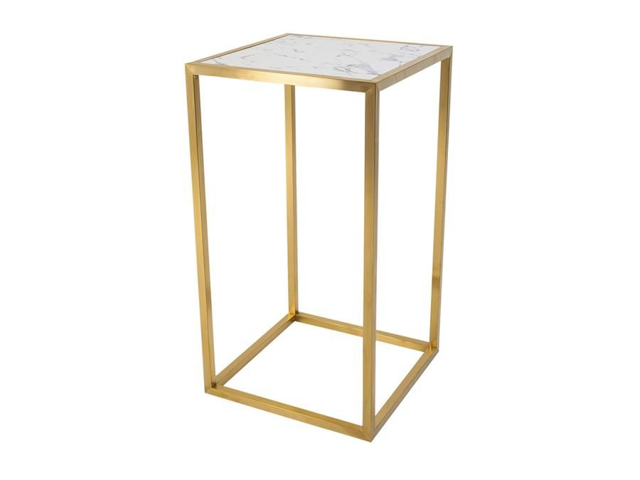 Bar Table Hire | Outline Bar Table Gold Frame With Faux Marble Top   Indoor  Use