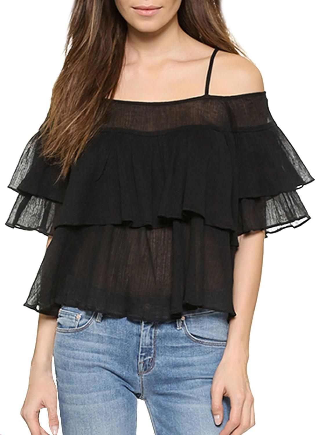 8cb3c42ea6db HaoYouDuo Black Sheer Off-Shoulder Tiered Ruffle Top