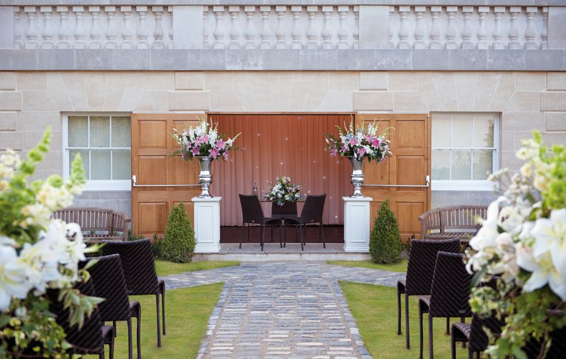 Outside Wedding Ceremony At Botleys Mansion Outside Wedding Ceremonies Wedding Venues Surrey Mansion Wedding Venues