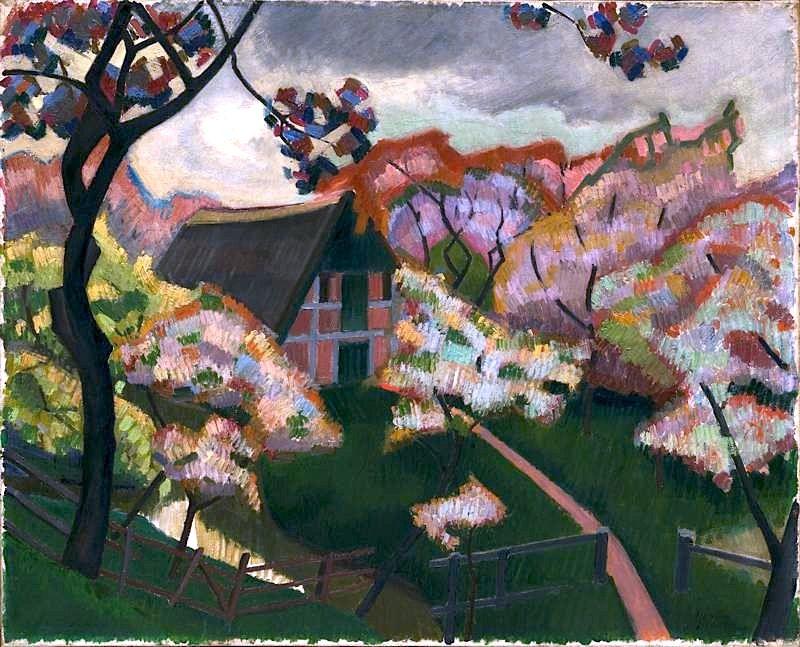 Auguste Herbin French, House and Flowering Cherry Trees, Hamburg, 1907