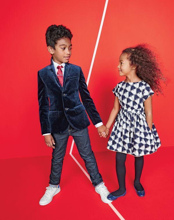 085eba00dea1 J.Crew kids' Ludlow blazer in velvet, point-collar solid Ludlow shirt,  skinny jean in wrinkle rinse wash, silk tie and Adidas® Stan Smith™  sneakers.