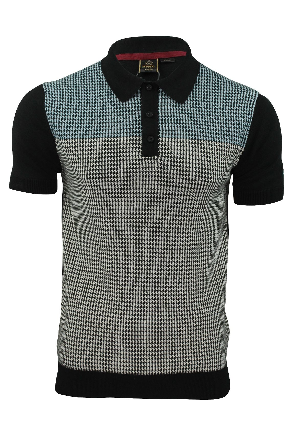 e418078452bc Mens Knit Polo Shirt by Merc  Parish  Dog Tooth Check in 2019