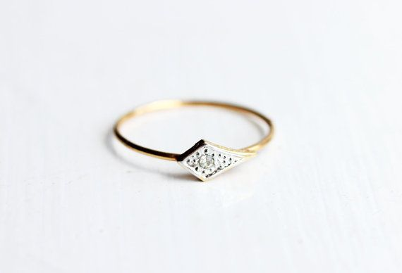 Diamond Shape Delicate Band Ring by diamentdesigns on Etsy, $16.00