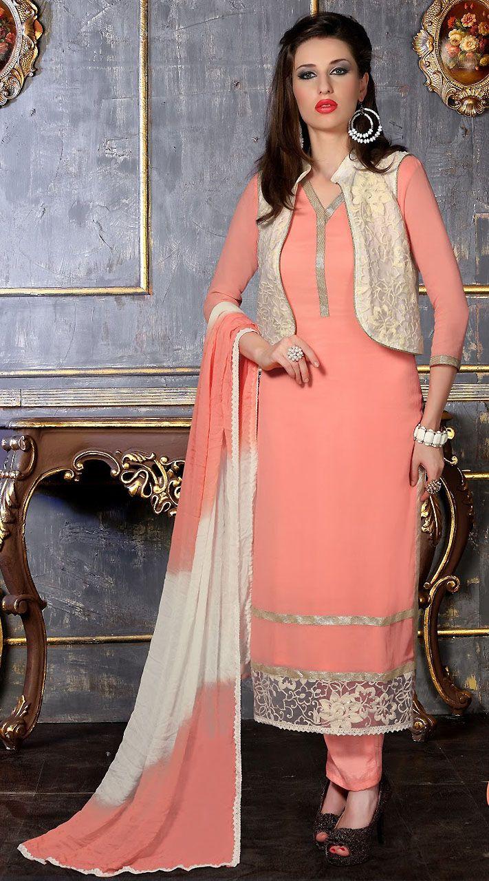 30765c4af1 Lovely Light Pink Georgette white Koti Style Salwar Kameez ...