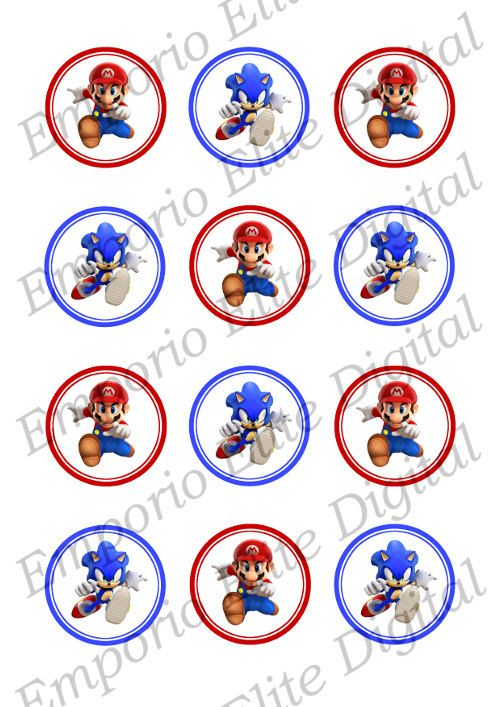 INSTANT DOWNLOAD Mario Amp Sonic Printable Party 2 Circle