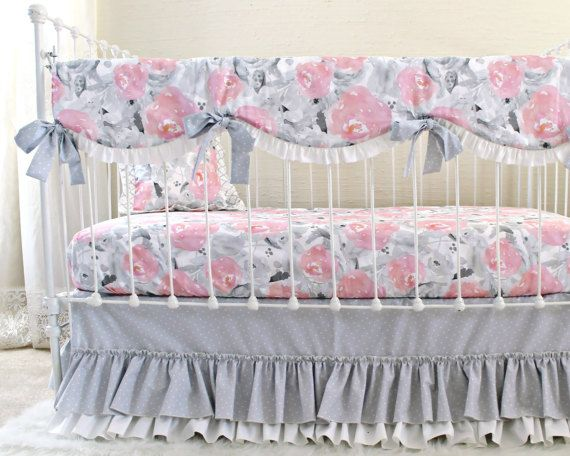 Pink Gray Baby Bedding Pink Clouds And Silver Linings Watercolor