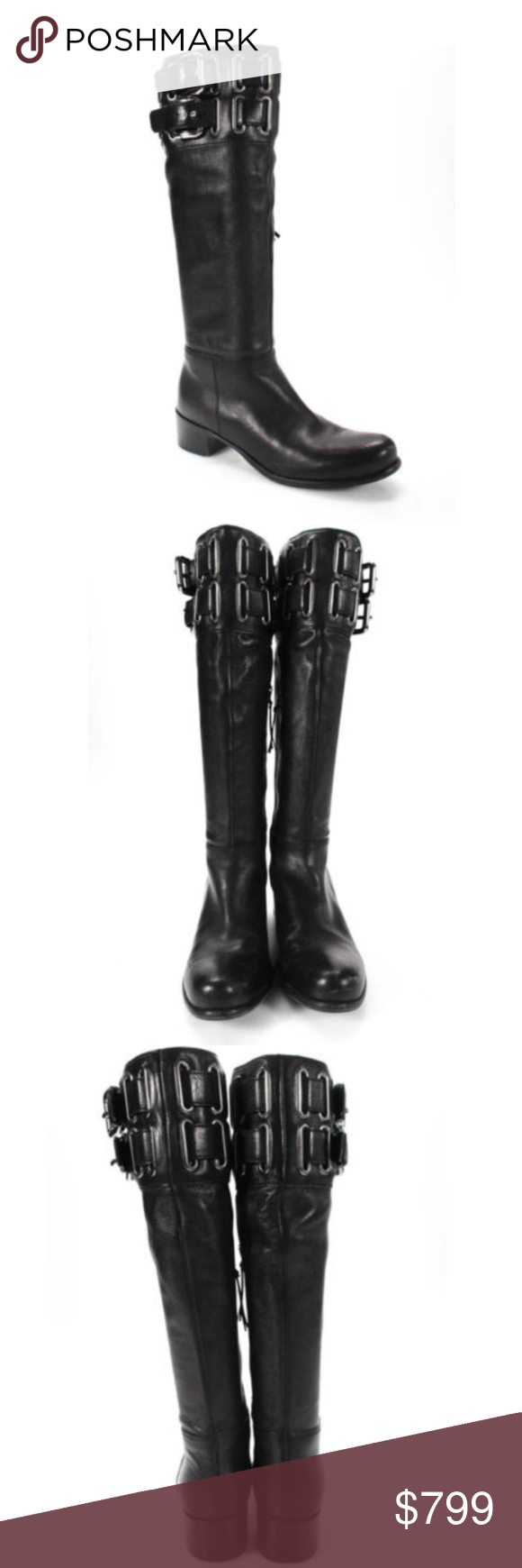 82345e6adf15 Authentic Miu Miu Knee-high boots with Buckle 6.5 MIU MIU BLACK SILVER TONE  BUCKLE ACCENTS ZIPPER CLOSURE KNEE HIGH BOOTS SIZE 6.5 These are in great  ...