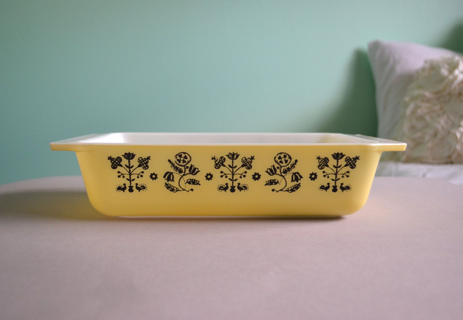Pyrex Black on Yellow Embroidery Space Saver | For the ...