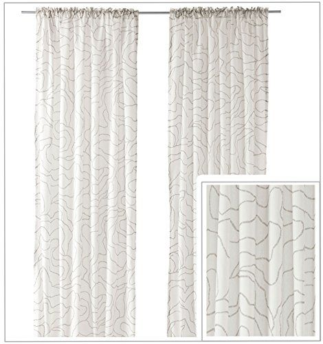 Ikea Ferle Pair Of Curtains 2 Window Panels 57 By 98 Inch Abstract Light Taupe Gray White Ikea Http Www Amazon Com Dp B00sg0 Window Panels Curtains Paneling