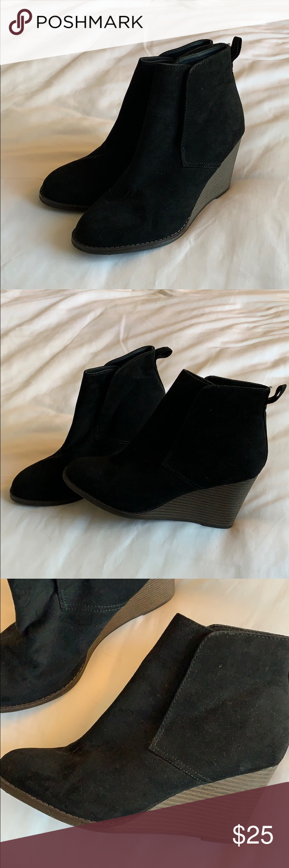 Black booties Black booties wit a small wedge. Worn only once. Very comfortable. They look Super cute with skinny jeans. Size 8 Merona Shoes Ankle Boots & Booties #skinnyjeansandankleboots Black booties Black booties wit a small wedge. Worn only once. Very comfortable. They look Super cute with skinny jeans. Size 8 Merona Shoes Ankle Boots & Booties #skinnyjeansandankleboots Black booties Black booties wit a small wedge. Worn only once. Very comfortable. They look Super cute with skinny jeans. S #skinnyjeansandankleboots