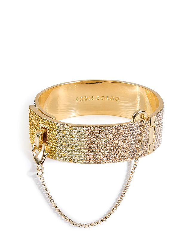 EDDIE BORGO Gold-Plated Safety Chain Cuff with Crystal Embellishment