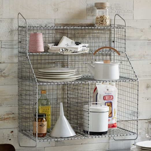 Bathroom Wall Organizers wire mesh storage - wall organizer | west elm | kitchen idea above